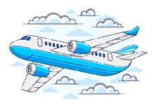 Плоское летание авиалайнера пассажира в небе окруженном облаками иллюстрация штока