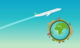 Плоское летание в небе с зеленым вектором планеты иллюстрация вектора