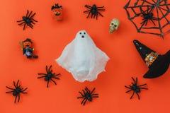 Плоское положение концепции предпосылки фестиваля хеллоуина вспомогательного украшения счастливой Стоковая Фотография