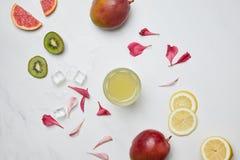 плоское положение с коктеилем спирта, кубами льда, аранжировало экзотические плодоовощи и лепестки цветка на белой поверхности стоковые изображения