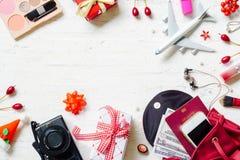 Плоское положение с Рождеством Христовым и счастливого Нового Года и любого holidy tr Стоковое Фото