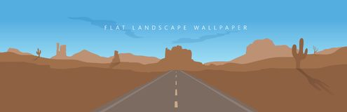 Плоское wallpap вектора предпосылки пустыни горы ландшафта Аризоны стоковое изображение rf