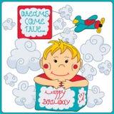 плоскость мальчика дня рождения Стоковое фото RF
