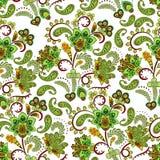 Плотная флористическая орнаментальная картина цветков фантазии притяжки руки r стоковое фото