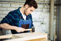 Плотник бить молотком ноготь молотком в деревянную доску стоковые изображения rf