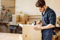 Плотник бить молотком ноготь молотком в деревянную доску стоковая фотография