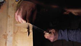 Плотник мастера делает отрезок на деревянном гребне с концом-вверх ручной пилы 4k мастер плотника делает отрезок на деревянной бо сток-видео