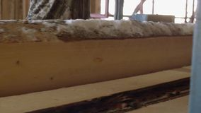 Плотник управляет промышленным стендом пилы с деревянным журналом видеоматериал