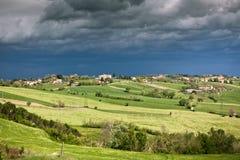Плохая погода на сельскохозяйственне угодье Италии Стоковая Фотография RF