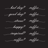 Плохой день? хороший день кофе? кофе, стресс? кофе, счастливый? кофе, Стоковое Фото