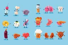 Плох привычки и нездоровый sett характеров человеческих органов, смешные воспитательные иллюстрации вектора на свете - голубой пр иллюстрация вектора