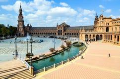 Площадь Испании, Севильи, Андалусии, Испании стоковые изображения rf