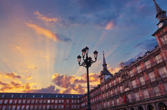 площадь Испания мэра madrid стоковые изображения