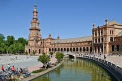 Площадь квадрата Испании Испании в Севилье, Испании стоковое изображение rf