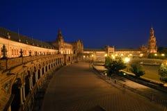 площадь ночи de espana Стоковые Изображения RF