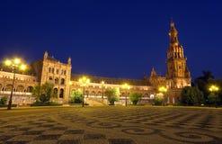 площадь ночи de espana Стоковое Фото