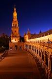 площадь ночи de espana Стоковое Изображение