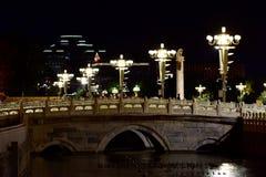 Площадь Тиананмен посещения в последней ноче осени Стоковое Изображение RF