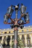 площадь фонарика barcelona реальная Стоковые Фотографии RF