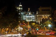 площадь nightview de madrid cibeles Стоковое Фото