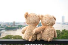2 плюшевого медвежонка сидя взгляд реки Concep влюбленности и отношения Стоковые Фото