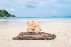 2 плюшевого медвежонка сидя на тимберсе с видом на море Влюбленность и re Стоковые Изображения RF