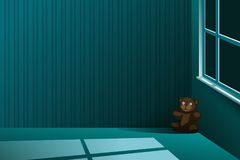 Плюшевый медвежонок вышел самостоятельно в угол пустой комнаты на ноче иллюстрация штока