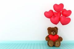 Плюшевый медвежонок держа сердце воздушного шара острый Стоковые Изображения