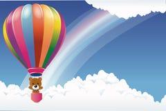 Плюшевый медвежонок в воздушном шаре Стоковая Фотография