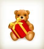 Плюшевый медвежонок с подарком Стоковые Изображения