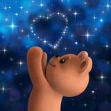 Плюшевый медвежонок с сердцем от звезд Стоковые Изображения