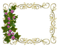 плющ золота рамки конструкции граници флористический Стоковое Изображение