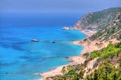Пляжи острова лефкас в Греции Стоковые Изображения RF