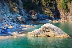 Пляж Албания Pulebardha утра лета Стоковая Фотография