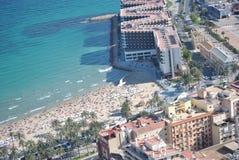 Пляж Аликанте увиденный сверху Стоковое Изображение