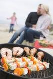 пляж барбекю варя семью Стоковое Изображение RF