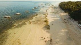 Пляж вида с воздуха красивый на тропическом острове Филиппины, Bohol сток-видео