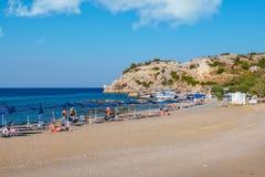 Пляж в Kolymbia Родос, Греция стоковое изображение rf