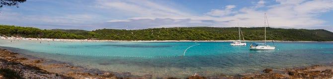 Пляж, залив моря в Хорватии Стоковые Изображения RF