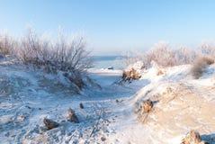 Пляж зимы Балтийского моря Стоковая Фотография RF