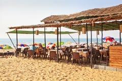 Пляж Индия Goa лачуги пляжа стоковые изображения rf