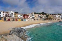 Пляж Испания Calella de Palafrugell деревни Стоковые Фото