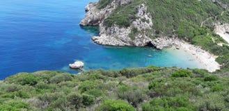 Пляж Корфу, Порту Timoni Afionas Стоковая Фотография