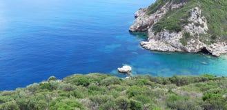 Пляж Корфу, Порту Timoni Afionas Стоковые Изображения