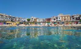 Пляж летних каникулов Calella de Palafrugell Испании стоковое фото rf