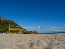 пляж ловит сетью волейбол Стоковые Изображения
