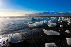 Пляж льда в Исландии стоковые изображения rf