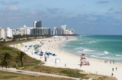 Пляж Майами южный в зиме стоковая фотография