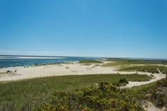 Пляж маяка Chatham, МАМЫ, США стоковое изображение rf