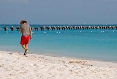 пляж наслаждаясь людьми Стоковые Изображения RF